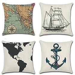 JIAJU& conjunto de 4 mapa de mundo de la cubierta del cojín de la vendimia estilo náutico del compás de la navegación del ancla del marinero