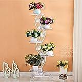 SLR Balkon Blumenständer, mehrstöckigen Wohnzimmer Innenbüro Grün Luo LAN LAN Standboden Einfachen schmiedeeisernen Blumentopf Rack,Weiß,Einheitsgröße
