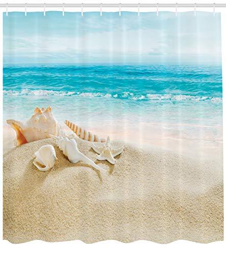 (ABAKUHAUS Duschvorhang, Seestern und Schalen im Vordergrund im Hintergrund Ist EIN Meeresblick EIN Strand Bild Druck, Blickdicht aus Stoff mit 12 Ringen Waschbar Langhaltig Hochwertig, 175 X 200 cm)