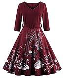ZAFUL Mujer Elegantes Vestido Retro Vintage Verano Vestidos de Fiesta Noche Tallas Grandes Mangas Cortas Rockabilly 3XL