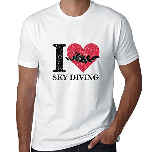 I Love Sky Diving With Red Heart Free Fall Logo Men's T-Shirt