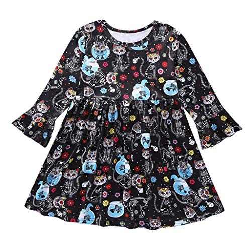 Cuteelf Frauen Langarm Casual Peter Pan Kragen Fit Flare Baumwolle Schwarz Plissee Halloween Kleid für Frauen
