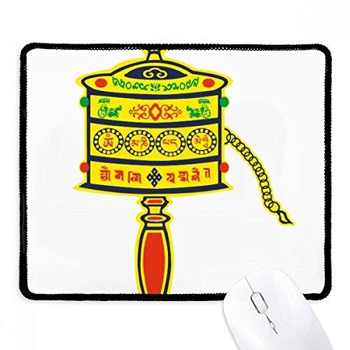 DIYthinker Buddhismus Religion Gebet-Rad Sanskrit Griffige Mousepad Spiel Büro Schwarz Titched Kanten Geschenk