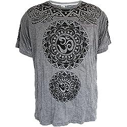 Yoga Shirts - Omtimistic para hombre hindú Aum 'Modelos tribales y Símbolo de OM ' Camiseta (X-Large, Gris)