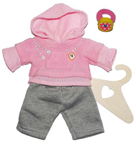 Puppenkleidung Größen 35 - 45 cm Jogginganzug 2 Teiler Hose Pullover Puppenbekleidung rosa grau Puppe - incl. Haargummi - für die Puppe - Kleidung Bekleidung Puppenbekleidung Mädchen Jungen (Hosen Gestrickte Sportlich)