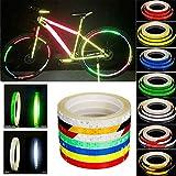 Adesivi Riflettenti per Biciclette per Moto motocicli Rim Reflector Nastro a Strisce Decalcomania Ciclismo Protezione di Sicurezza  Cerchione Fluorescente Impermeabile Autoadesiva 1 Centimetro * 8m