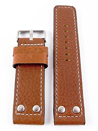 Oozoo Armband - Ersatzarmband für Oozoo Uhren etc. - 22 mm - Farbe : Cognac/Niete