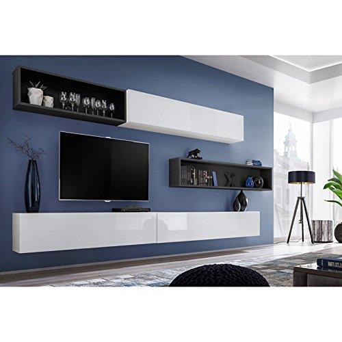 Paris Prix - Meuble TV Mural Design blox X 350cm Blanc & Noir