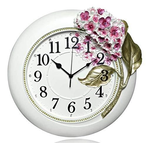 DDHZTA Große Wanduhr, Wohnzimmer, stille Uhr, kreative Uhrenkunst, Mode, Hortensien Harz, Hängehr,B