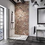 Schulte paroi de douche à l'italienne, Walk In Black Style, verre transparent, profilé noir, 100x190 cm