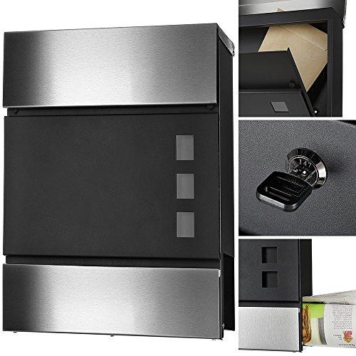 Melko Design Briefkasten mit Zeitungsfach aus poliertem Edelstahl, 37 x 11 x 36,5 cm, Schwarz/Edelstahl