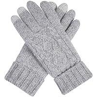 ajunt de mujer Jinete y Conducir en el invierno de doble grosor calientes lana de gewirken Guantes pantalla táctil–Guantes guantes fríos, gris