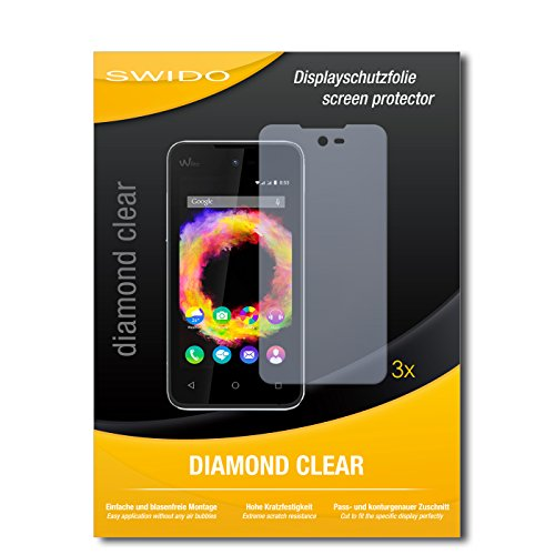 SWIDO 3 x Schutzfolie Wiko Sunset 2 Bildschirmschutz Folie DiamondClear unsichtbar
