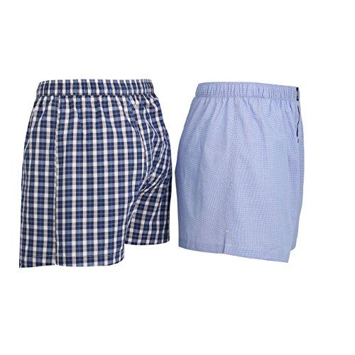 2er Pack Bugatti Herren Boxer Shorts Blau / Weiß