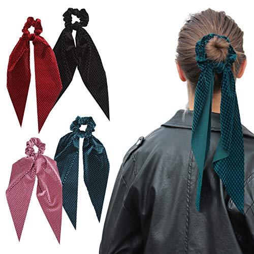 WELROG 4 Stücke Frauen Haar Haargummis Haar Krawatten Kopfverpackung Gummibänder Haar Zubehör (Plaid(blau/pink/weinrot/schwarz))
