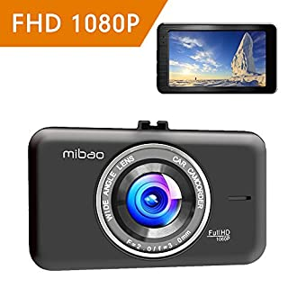 Mibao Dash Cam 1080P Dashcam Dash Cameras 170°Wide Angel 3 Inch LCD Screen Dashboard Cameras for Cars, WDR, Loop Recording, G-sensor, Parking Monitor, Motion Detection