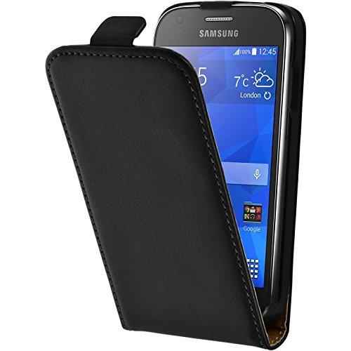 PhoneNatic Copertura di cuoio artificiale per Samsung Galaxy Ace 4 - Flip-Case nero - Cover + pellicola protettiva