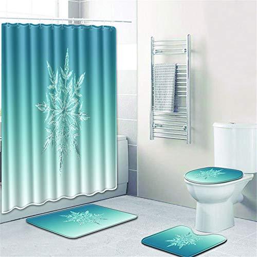 LWPCP Duschvorhang + Türmatte + WC-Abdeckung + Fußkissen 4-Teiliges Set Badezimmer-Set, Baddekoration HD-Druck Anti-Rutsch Feuchtigkeit,3,45 * 75CM