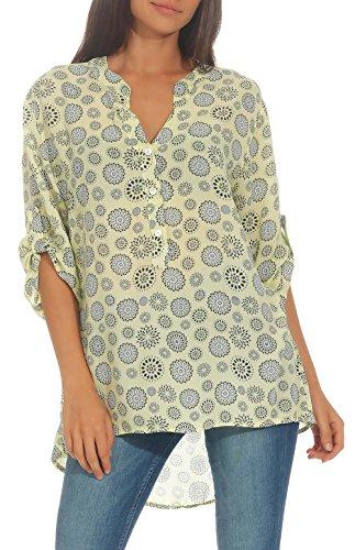 Italienische Damen Langarm (Malito Damen Bluse mit Print   Tunika mit ¾ Armen   Blusenshirt auch Langarm tragbar   Elegant - Shirt 6703 (gelb))