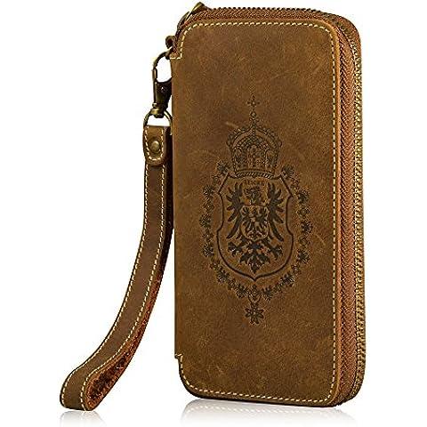 MANNA Business Cartera/funda universal para Smartphones | Para Galaxy Gear SmartWatch, Note 3, Note 4 | Ranura interior para tarjetas y bolsillo para monedas | Piel Nobuck 'Vintage' marrón | Cuero genuino de alta