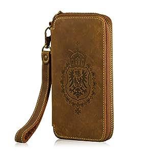 MANNA Business Portefeuille en cuir pour Smartphones | Rainure à l'intérieur pour cartes de credit et petit poche pour les monnaies | Spécialement conçu pour Smartphones comme le HTC One M9