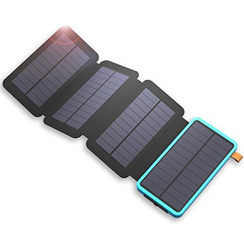 Solar Powerbank X-DRAGON 20000mAh Wasserdichte Solar Panel Ladegerät mit 2 USB Ports, LED Taschenlampe Externer Akku für iPhone X/8/8 Plus/7/6s/6 Plus, iPad, Smartphone, Huawei, Samsung und Tablet - Blau