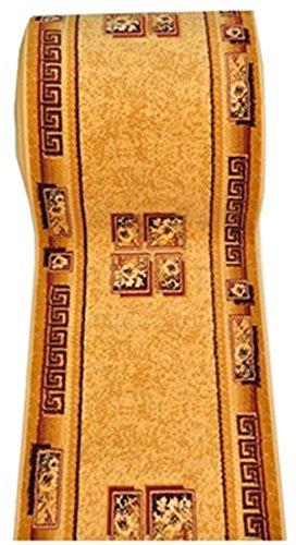 Läufer Teppich Flur in Beige Cream - Traditionell Europäisch Muster - Kurzflor Teppichlaufer