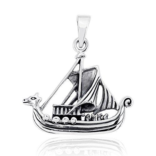 sistakno Sterling Silber 925Piraten nautischen Wikinger Boot Schiff Meer Welt Kriegsschiff Dragon Kopf Anhänger (Piraten-boot Erwachsene)