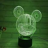 ZahngY 3D Lampe Optische Led Täuschung Nachtlicht 7 Farben Der Berührung Mickey Mouse