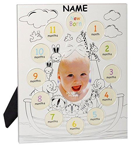 alles-meine.de GmbH Fotorahmen / Bilderrahmen -  Baby - Mein erstes Jahr  - incl. Name - mit 13 Bilder - Collage zum Hinstellen - Tischausteller - Gross - Deko für Kinder + Erw..