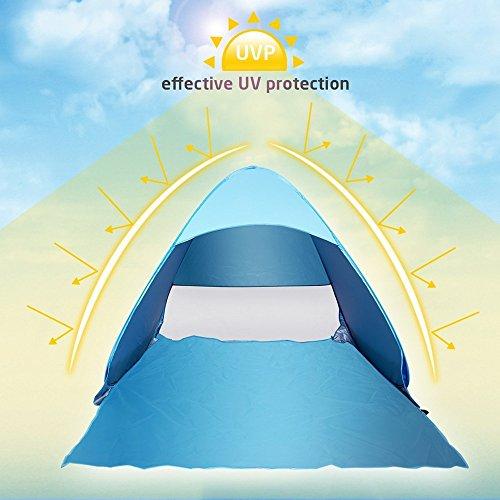 Strandzelt, Wxtra Leicht Automatik Strandmuschel mit Boden Sonnenschutz UV-Schutz, Familie Tragbares Strand-Zelt in Blau, Outdoor Beach Tent Tragbar -
