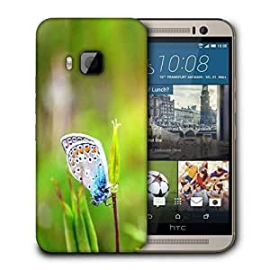 Snoogg Mixed Color Butterfly In Green Petal Printed Protective Phone Back Case Cover For HTC One M9