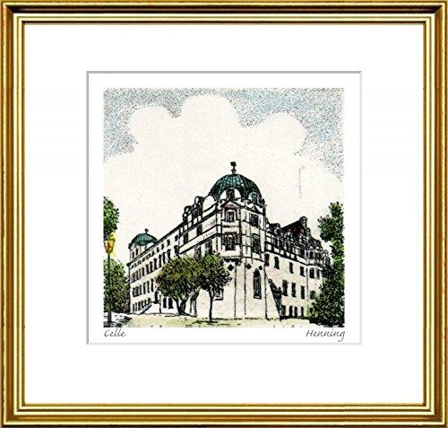 Handkolorierte original Radierung Celle, Schloß im Rahmen Goldkehle hinter Passepartout, Graphik, kein Kunstdruck, kein Leinwandbild