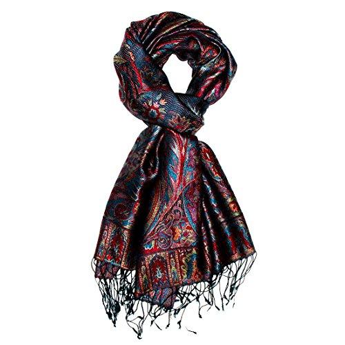 Preisvergleich Produktbild LORENZO CANA - Luxus Herren Pashmina reine Seide Herrenschal 70 x 190 cm Blau Rot Gelb Schwarz Paisley Seidenschal Herrentuch 100% Seide - 7808811