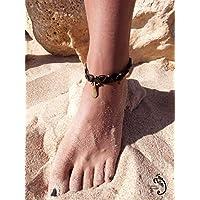 Donna alla caviglia macramè con perline da India, regolabile e a goccia. Ideale per l'estate.
