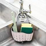Panier d'évier de cuisine ou de salle de bain Yhlve à drainage pour savon éponge support de rangement à ventouse, rose, 14.5*5.7*24.5cm
