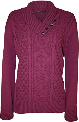WearAll - Taille Plus Bouton col V à manches longues Pull Top - Pullover - Femmes - Tailles 42 à 48 Cerise