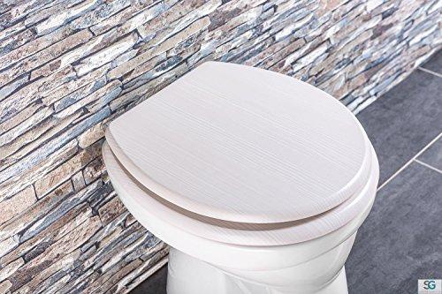 Aquashine® Luxus WC Sitz Holz-Optik | Edelstahl Scharniere | Universal Toiletten Sitz mit Absenkautomatik (Eiche)