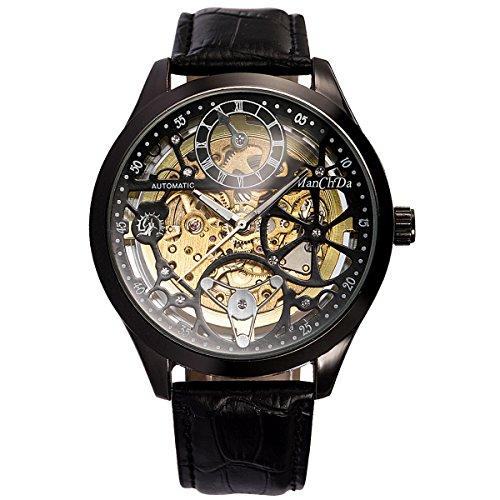 Montre - Creux Squelette Cadran ManChDa Automatique Mécanique Regarder pour Hommes + Boîte-Cadeau (01 Black)