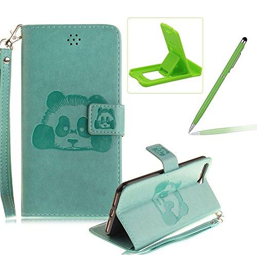 Für iPhone 7 Plus 5.5Zoll Wallet Tasche Brieftasche Schutzhülle,Herzzer Stilvoll Jahrgang [Lovely Panda Prägung] Schutzhülle Wallet Case Design Lederhülle Zubehör im Bookstyle Cover Schale mit Ständer Grün