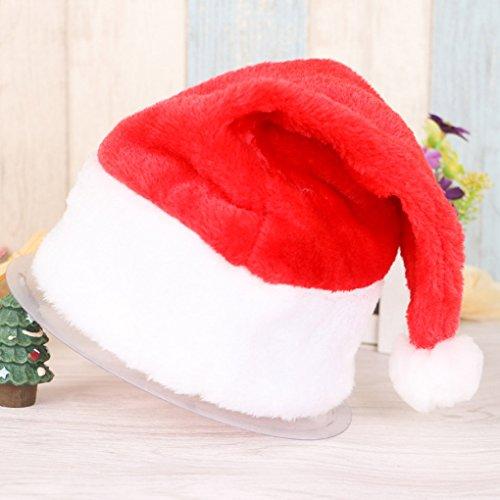 Santa Kostüme Halloween (QHGstore Weihnachten Offizielle Plüsch Weihnachtsmann Hat & Comfort Liner Weihnachten Halloween Kostüm)