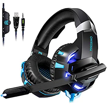 Gaming Headset for PS4,KINGEAR RGB Stereo Wired Headphones for Xbox One,PC,Bass Surround Sound Ear Headphones with Noise Canceling Microphone,LED Light and Soft Earmuffs