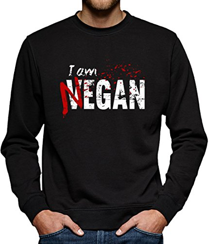 TLM I am Negan Sweatshirt Pullover Herren M Schwarz (Splatter-premium-t-shirt)