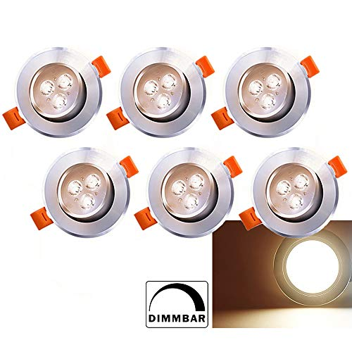 6 x LED Einbaustrahler Dimmbar 230V/12V 3W Warmweiß Einbaustrahler 245lm Deckenstrahler Schwenkbar Deckeneinbaustrahler Einbauspot Spot