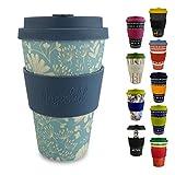 Morgenheld ☀ Dein trendiger Bambusbecher | umweltfreundlicher Coffee-to-Go-Becher | nachhaltiger Kaffeebecher mit Silikondeckel und Banderole in coolem Design 400 ml Füllmenge (Flower)