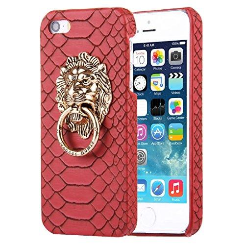 Wkae Case & Cover Pour iPhone SE &5s et 5 Snakeskin Texture Paste peau cas de protection PC avec support Lion Head ( Color : White ) Red
