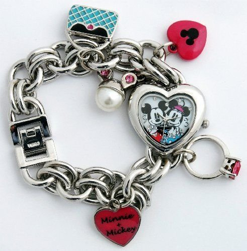 Disney Minnie & Mickey Mouse Women's MN2054 Heart Dial Charm Bracelet Watch