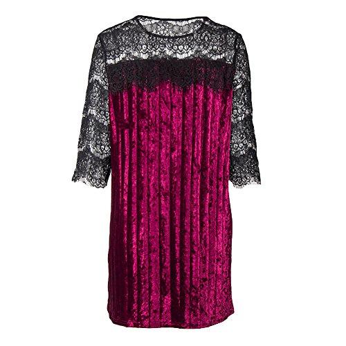 Femme Elégante Robe - Vintage Couleur Unie Tunique de Velours Floral Dentelle 3/4 Manches Col Rond Robe Casual Loose Top Mini Robe de Soirée Cocktail S-XL Vin rouge