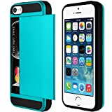 Turquoise XYLO-ARMOUR Hard Back Ultra Slim Cover / Skin / Case with Card Holder for the Apple iPhone SE / 5s / 5. Includes ClearICE Screen Protector Guard.