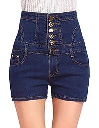 Nanxson TM Jeans Short Taille Haute Boutonnage Simple Casual Bleu Pour  Femmes DKW0023 38ffc472bec